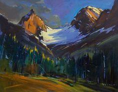"'Robertson Glacier through Trees'  22"" x 28""  Acrylic on Canvas  Artist Charlie Easton"