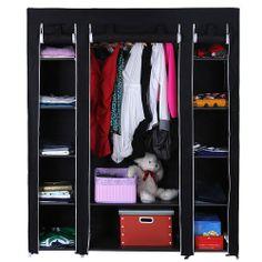 Songmics Canvas Wardrobe Cupboard Clothes Hanging Rail Storage Shelves Black 175 x 150 x 45cm LSF03H Songmics-Kleiderschränke http://www.amazon.co.uk/dp/B00BHC6O5U/ref=cm_sw_r_pi_dp_22lOtb1P2YZRAKZN