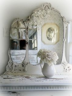 S H A B B Y White Antique Dresser with Tiara Mirror Chippy Paint Beach Cottage Nordic Style Furniture