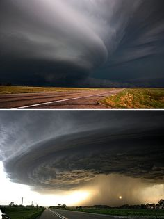 I know it sound crazy but I would love to go Tornado hunting one day ( on the Bucket List). /So pretty, looking from a distance, love this picture, hey, I'd love to go storm chasing myself EL. All Nature, Science And Nature, Amazing Nature, Weather Cloud, Wild Weather, Storm Clouds, Sky And Clouds, Natural Phenomena, Natural Disasters