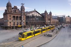 Budapest  train station | Budapest's West Rail Station, showing the ultra modern tram 4 and the ...
