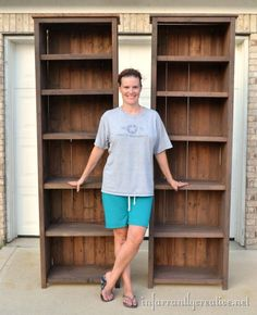 Using a revised Ana White plan and a tea stain and vinegar I made some tall bookshelves for a friend.