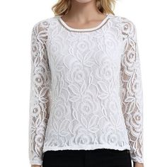 PLAMTEE S 5XL Women Blouses Floral Lace Shirt Female 2017 Long Sleeve Camisa Mujer Black White. Click visit to buy #Blouse #Shirt #BlouseShirt