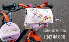 Lenkradtasche nähen - kostenlose Nähanleitung. So nähen Sie eine praktische Fahrradtasche selbst mit Schnittmuster für Damen- oder Kinderfahrrad.