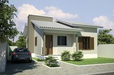 Home Design Decor, Home Design Plans, Modern House Facades, Tuile, Simple House Design, Cheap Houses, Lomba Grande, Bungalow House Design, Farmhouse Plans