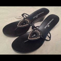 Montego Bay Jeweled Wedge Sandals Worn once Montego Bay Black Jeweled Wedge Sandals Montego Bay Shoes Sandals