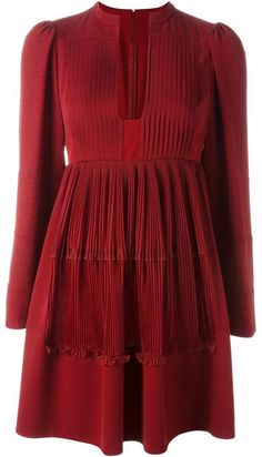 Valentino pleated A-line dress #Valentino #ValentinoCouture #Fashion #WomensFashion #LadiesFashion #HauteCouture #Style #DesignerDresses #FashionWear #Silk #Lace