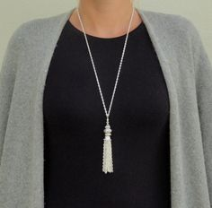 Tassel Necklace, Long Silver Tassel Necklace, Large Silver Beaded Tassel Necklace, Tassel Pendant Silver