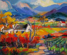 Isabel le Roux - Landscapes Gallery Abstract Landscape, Landscape Paintings, Art Pictures, Art Images, African Paintings, South African Artists, Impressionist Paintings, Naive Art, Colorful Paintings