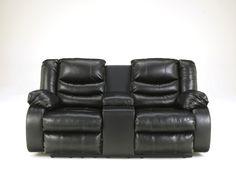 Linebacker DuraBlend® - Black - DBL Rec Loveseat w/Console   9520294   Leather Reclining Loveseats   Boyer's Budget Furniture