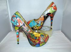 Comic Book Vintage Themed High Heels Made to by custombykylee