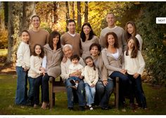A suggested 'do' on how to dress for an extended or any size family group photo. This mix of neutrals:  tans, off whites and light wash jeans keeps the focus on the family. #extendedfamilyphotography A suggested 'do' on how to dress for an extended or any size family group photo. This mix of neutrals:  tans, off whites and light wash jeans keeps the focus on the family.