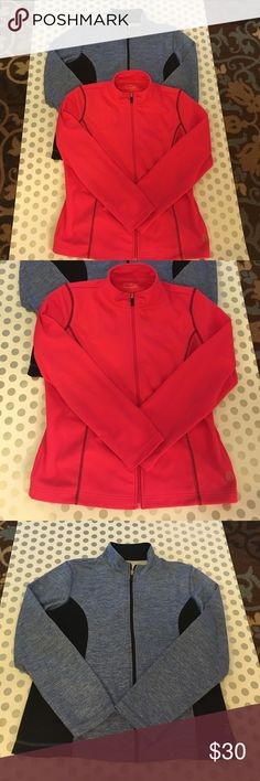 Two Light Jackets These jackets are like new. 100% Polyester. Would look great with yoga pants or workout pants. Purchased at Belk. Light blue and black and coral and black. be inspired Jackets & Coats