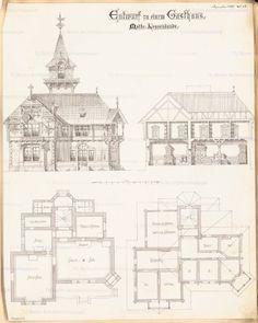 Gasthaus. Monatskonkurrenz Dezember 1886   unbek. Architekt - Europeana