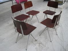 old schoolchairs, plywood