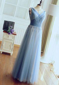Cute blue tulle long prom dress