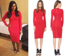 Mindy wears a red midi dress with back zip at the photoshoot for her book cover, July 19th, 2014. /// 5th & Mercer Long Sleeve Dress - $250