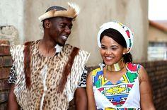 : Umembeso With The Bride In A Hand Painted Umgwalo Dress African Men Fashion, African Fashion Dresses, Sishweshwe Dresses, Zulu Wedding, Wedding Blog, Hand Painted Dress, South African Weddings, Traditional Dresses, Traditional Weddings