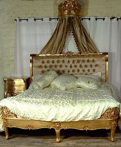 Reproduction Antique French Style Upholstered Headboard Painted Gilt Gold Bed Louis Dallas Texas
