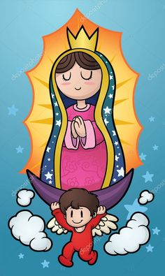 Buy Cartoon Virgin by memoangeles on GraphicRiver. Virgin of Guadalupe. Vector clip art illustration with simple gradients. Virgin and background on separate layers. Simple Canvas Paintings, Canvas Art, Cartoon Drawings, Easy Drawings, Virgin Mary Painting, Dual System, Cartoon Painting, Mexican Art, Illustration Art