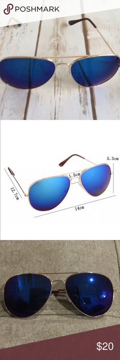 Mirrored Aviators Cobalt Blue/ Gold Mirrored aviators are 100% UVA and UVB. New without tags . Comes in plastic packaging . This listing is for the cobalt blue lens and gold metal frames. Boutique Accessories Watches