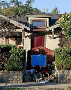 Flowers left at  PW's home in Santa Barbara.