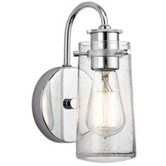 """View the Kichler 45457 Braelyn Single Light 10"""" Tall Wall Sconce with Seedy Glass Shade at LightingDirect.com."""