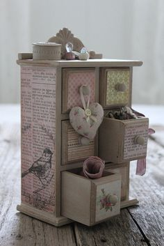 "Find an old wood trinket or jewelry box at a thrift store and paint and decorate it in a ""shabby chic"" style. Way cheaper than buying it like that. And more fun!"