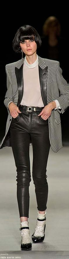 classic look. black and white, houndstooth blazer, leather trousers <-- hopefully artificial. Saint Laurent 2014, Saint Laurent Paris, Ellie Saab, Spring 2014, Summer 2014, Spring Summer, Latest Fashion Trends, Runway Fashion, Fashion Outfits