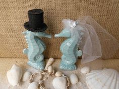 Weddings Wedding Cake Toppers Seahorse Aqua Turquoise Blue Beach Coastal Sea Ocean Nautical Romantic Tropical Destination Turquoise Kissing on Etsy, $74.99
