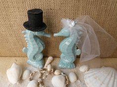Weddings Wedding Cake Toppers Seahorse Aqua Turquoise Blue Beach Coastal Sea Ocean Nautical Romantic Tropical Destination Turquoise Kissing on Etsy, $74.99