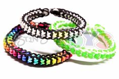 The Boxed Bow Rainbow Loom Bracelet was designed by Rob at Justin's Toys. It is a thin bracelet that is basically a inverted fishtail surrounded by another fishtail. All it requires is 2pegs so it can be made on the rainbow loom, monster tail, mini rainbow loom, fun loom, bandaloom, fork, or cra-z loom. I would recommend using 2 colors or 2 sets of colors that are high in contrast in order to bring out the most of this design.