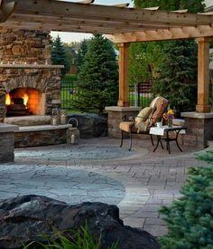 Backyard · Outdoor CurtainsStone PatiosWood DecksPatio IdeasBackyard IdeasOutdoor  FireplacesThe ...