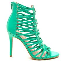 Cross Boss Faux Leather Heels SEAGREEN ($44) ❤ liked on Polyvore featuring shoes, green, metallic shoes, cross shoes, high heel stilettos, cross strap shoes and strappy high heel shoes