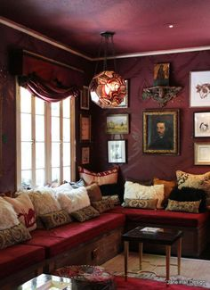Brown and Burgundy Living Room. Brown and Burgundy Living Room. Neutral Colour Scheme for A Living Room with Burgundy Burgundy Walls, Burgundy Living Room, Burgundy Room, Plum Walls, Burgundy Paint, Purple Walls, Gold Walls, Plum Purple, Deep Purple