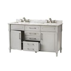 Home Decorators Collection Aberdeen 60 in. W x 22 in. D Double Vanity in Dove Grey with Marble Vanity Top in White-8103700270 - The Home Depot