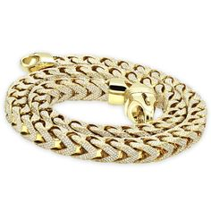 675a1eaae Real Diamond Hip Hop Jewelry Solid 10K Gold Iced Out Franco Chain for Men