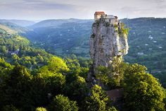 See the Architecture of the World from Above;The Katskhi Pillar in Katskhi, Georgia.