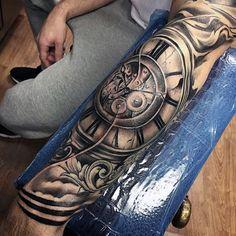 Mens Reloj del número romano de filigrana antebrazo tatuajes de la manga