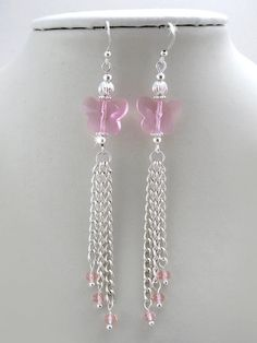 Rose Crystal Butterfly Tassel Earrings  pink by OohlalaBeadtique, $8.00