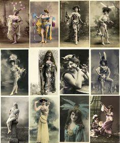 Arquivo com  100 lindas fotografias digitalizadas de fantasias femininas exóticas como odaliscas, egípcias e outras bem diferentes do inicio do século 20.