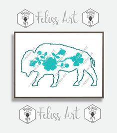 Buffalo Print, Woodland Art, Minimalist Art, Animal Art, Minimalist, Minimalist Animal, Miniamlist Print, Buffalo Wall Art, Animal Poster