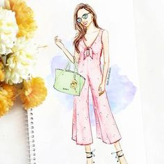 Here's to another beautiful weekend🌻💕 Make sure you glam up your look with tie up heels and super chic handbag 👜 Dress Design Sketches, Fashion Design Sketchbook, Fashion Design Drawings, Fashion Sketches, Fashion Figure Drawing, Fashion Drawing Dresses, Fashion Illustration Dresses, Fashion Illustration Tutorial, Illustration Mode