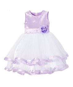Loving this Lilac Satin-Trim A-Line Dress - Infant, Toddler & Girls on #zulily! #zulilyfinds