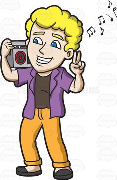 A man listening to a jam on the radio : A man with curly blonde hair wearing a brown shirt under his purple collared unbuttoned shirt pale orange pants and black sandals grins as he listens to the gray radio that he placed on his right shoulder left hand gesturing a peace sign The post A man listening to a jam on the radio appeared first on VectorToons.com.