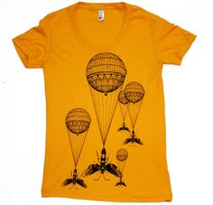 Dark Cycle Clothing  Screen printed short sleeved 50 50  Ladies T Shirt    Strange imagery of hot air balloons attached to wasps designed by