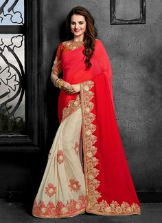 Fascinating Red Embroidered Work Crush Designer Traditional Sarees