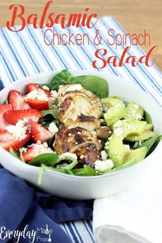 This healthy Balsamic Chicken & Spinach Salad is made with a simple homemade dressing that's mixed together in no time. The feta and strawberries pair so perfectly with it.   EverydayMadeFresh.com Spinach Salad With Chicken, Spinach Stuffed Chicken, Chicken Salads, Beef Recipes, Salad Recipes, Chicken Recipes, Honey Mustard Chicken, Balsamic Chicken, International Recipes