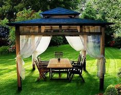 Beautiful Summer Decorating with Mosquito Nets Improving Pergola and Gazebo Designs Wooden Gazebo, Gazebo Pergola, Outdoor Gazebos, Deck With Pergola, Pergola Shade, Pergola Plans, Pergola Kits, Pergola Ideas, Outdoor Kitchen Patio