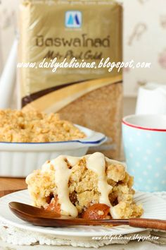 dailydelicious thai: Caramel Granulated sugar Apple crumble with Easy Vanilla sauce